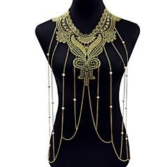 Bijuteria de Corpo/Cadeia corpo / Cadeia de barriga Liga Renda Formato de Flor Moda Estilo Boêmio Dourado 1peça