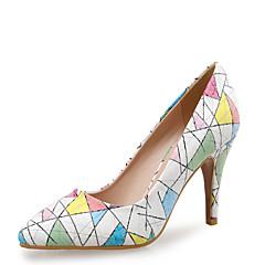 Mujer-Tacón Stiletto-Innovador Zapatos del club-Tacones-Boda Vestido Fiesta y Noche-Cuero-Azul Rosa Blanco