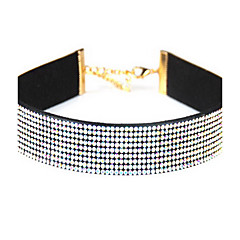 女性 チョーカー 模造ダイヤモンド シングルストランド 円形 レザー ラインストーン ベーシック 欧風 ジュエリー 用途 日常 カジュアル