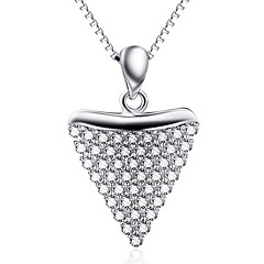 Kolye Uçları Som Gümüş Yapay Elmas Basic Tasarım Kalp Gümüş Mücevher Günlük 1pc