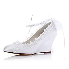 עקבים-בד-נוחות-לבן-חתונה שמלה מסיבה וערב-עקב וודג'