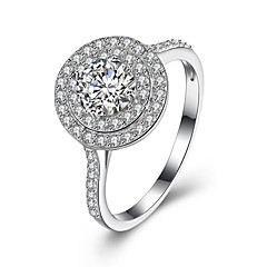 Ring Wedding Party Special Occasion Daily Casual Jewelry Sterling Silver Zircon Ring 1pc,8 Silver