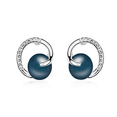 スタッドピアス 真珠 自然 ファッション 真珠 合金 ジュエリー ホワイト ブラック ダークブルー グレー 銅色 ジュエリー のために 日常 1ペア