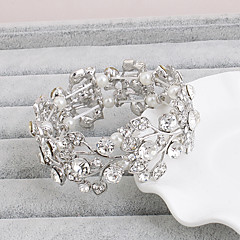Bracelet Bangles Crystal Alloy Leaf Natural Wedding Party Jewelry Gift Silver,1pc