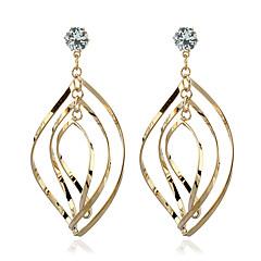 עגילים משתלשלים יהלום קריסטל זירקון ציפוי זהב זהב תכשיטים ל חתונה Party 1 זוג