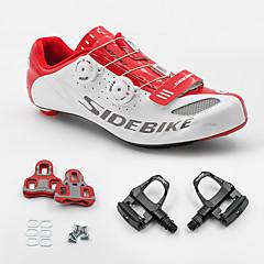 BOODUN/SIDEBIKE® スニーカー ロードバイクシューズ サイクリングシューズ(ペダル&クリート付き) 男女兼用 クッション ロードバイク PUレザー ラバー サイクリング