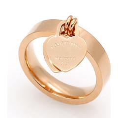 Anéis Grossos Coração Aço Titânio Formato de Coração Dourado Prata Rosa Jóias Para Casamento Festa Ocasião Especial Diário Casual 1peça