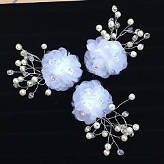 טול אקרילי כיסוי ראש-חתונה אירוע מיוחד פרחים קליפס לשיער תפסים לשיער 3 חלקים
