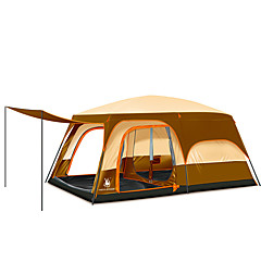 5-8 persons Tent Double Three Rooms Camping Tent 2000-3000 mm Rain-Proof Oversized Portable-Camping Traveling-Yellow