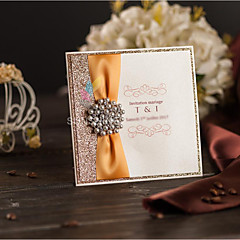 Side Fold Wedding Invitations Invitation Cards Classic Style Pearl Paper Ribbon Bow Rhinestones