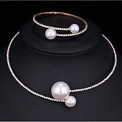 Jewelry Set Pearl Necklace Imitation Pearl AAA Cubic Zirconia Fashion Multi-ways Wear Alloy Round Silver 1 Necklace 1 Bracelet ForWedding