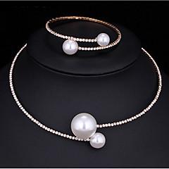 Schmuckset Perlenkette Imitierte Perlen Kubikzirkonia Modisch Multi-Wege Wear Aleación Runde Form Silber 1 Halskette 1 Armreif Für