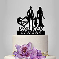 Personalized Acrylic Couple With One Girl Wedding Cake Topper