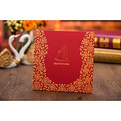 Top Fold Wedding Invitations Invitation Cards-50 Piece/Set Vintage Style Monogram Flora Style Bride & Groom StyleHard Card Paper Card