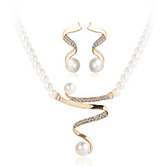 2017 Fashion Vintage Luxurious Rhinestone Pearl Jewelry Sets For Women Wedding Bridal Accessories Crystal Necklace Earrings Set