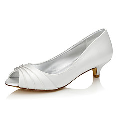 Women's Dyeable Wedding Shoes Comfort Shoes Silk Spring Fall Wedding Outdoor Office & Career Party & Evening Dress Low Heel Ivory1in-1