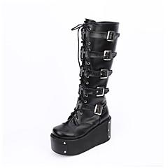 Lolita Shoes Gothic Lolita Classic/Traditional Lolita Punk Lolita Vintage Inspired Handmade Platform Lolita 10 CM Black For PU Leather PU