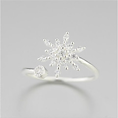 925 prata prateada derretida neve flor de neve anel de abertura de moda fresca