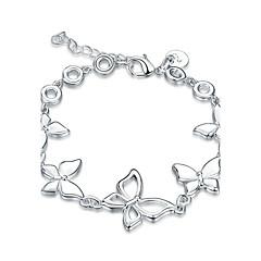 Dames Meisjes Armbanden met ketting en sluiting Kristal Vriendschap Modieus Vintage Punk-stijl Rock Verzilverd Strikvorm Sieraden Voor