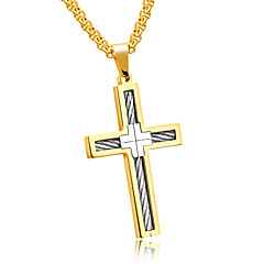 Pure steel distribution chain The European and American wind man titanium steel wire cross necklace