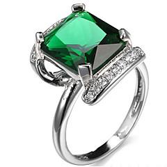 Női Gyűrű foglalat Karikagyűrűk Gyűrű Kocka cirkónia StrasszAlap Egyedi Geometriai Négyzet Film ékszer luxus ékszer minimalista stílusú