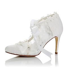 Women's Heels Comfort Summer Fall Lace Satin Wedding Dress Party & Evening Applique Stiletto Heel White 3in-3 3/4in