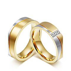 Casal Anéis de Casal Zircônia cúbica Moda Estilo simples Elegant Zircônia Cubica Aço Titânio Forma Redonda Jóias ParaCasamento Festa
