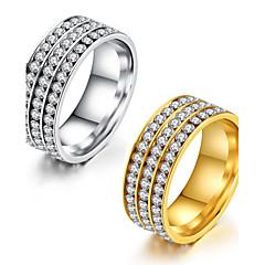 Dame Ring Kubisk Zirkonium Klassisk Elegant Kubisk Zirkonium Titanium Stål Rund Form Smykker TilBryllup Fest & Aften Engasjement Daglig