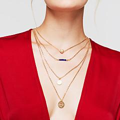 Žene slojeviti Ogrlice Round Shape Heart Shape Pozlaćeni Legura Srce Više slojeva Moda Zlato Jewelry Za Dnevno 1pc