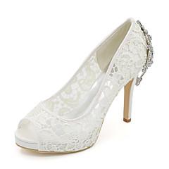 Damă pantofi de nunta Balerini Basic Primăvară Vară Dantelă Tul Nuntă Party & Seară Piatră Semiprețioasă Toc Stiletto Alb Negru Roz