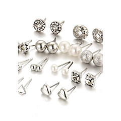 12 Pcs/set Women's Stud Earrings Crystal Imitation Pearl Rhinestone Acrylic Fashion Bling Bling Elegant Crystal Imitation Pearl AlloyRound Heart