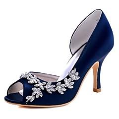 """נשים נעלי חתונה בלרינה בייסיק סאטן נמתח אביב קיץ חתונה מסיבה וערב קריסטל עקב סטילטו כחול כהה סגול אדום ורוד בהיר קריסטל ס""""מ 7.6 - ס""""מ 9.50"""