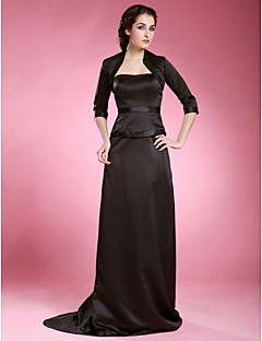 Sheath/Column Plus Sizes Mother of the Bride Dress - Black Sweep/Brush Train 3/4 Length Sleeve Satin