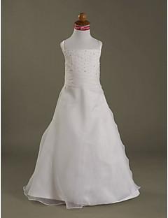 새틴 꽃의 소녀 드레스 위에 라인 스파게티 스트랩 바닥 길이 organza