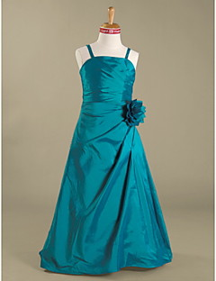 Floor-length Taffeta Junior Bridesmaid Dress A-line / Princess Spaghetti Straps Natural with Flower(s) / Side Draping