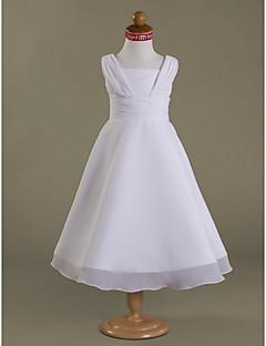LAN TING BRIDE A-line Princess Tea-length Flower Girl Dress - Chiffon Satin Square with Side Draping Ruching Ruffles