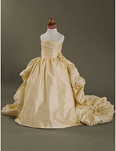 Ball Gown Court Train Flower Girl Dress - Taffeta Sleeveless