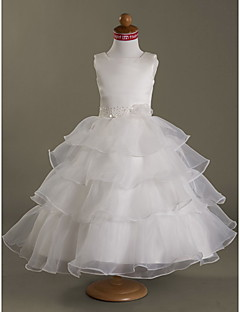 A-line/Princess/Ball Gown Tea-length Flower Girl Dress - Satin/Organza Sleeveless