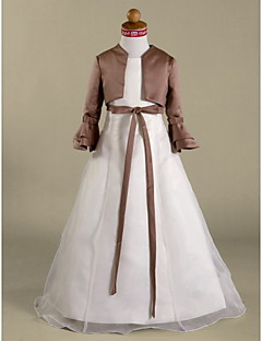 Lanting Bride ® A-line / Princess Floor-length Flower Girl Dress - Organza / Satin Long Sleeve Jewel with Sash
