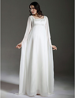 LAN TING BRIDE Plus Size Sheath Column Wedding Dress - See-Through Floor-length Square Chiffon Satin