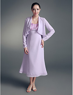 LAN TING BRIDE A-line Plus Size Petite Mother of the Bride Dress - Wrap Included Tea-length Long Sleeve Chiffon Stretch Satin withBeading
