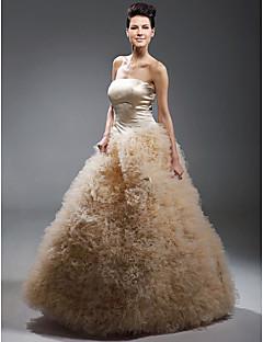 satin balklänning axelbandslös golv längd afton / balklänning inspirerad av Drew Barrymore på Emmy Awards
