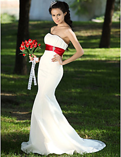 Lan Ting Trumpet/Mermaid Plus Sizes Wedding Dress - Ivory Sweep/Brush Train Strapless Satin