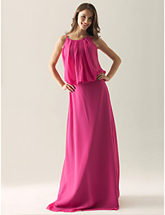 Lanting Floor-length Chiffon Bridesmaid Dress - Fuchsia Plus Sizes / Petite Sheath/Column Spaghetti Straps