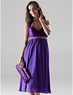 Knee-length Chiffon / Charmeuse Bridesmaid Dress A-line / Princess Halter / Sweetheart Plus Size / Petite withBeading / Crystal Detailing