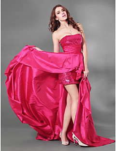 Cocktail Party / Formal Evening / Military Ball Dress - Plus Size / Petite A-line Strapless Court Train Taffeta / Sequined