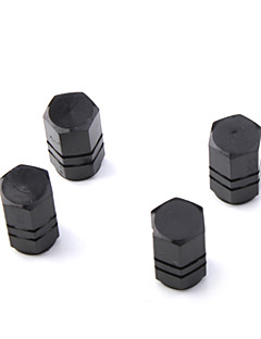 Luxury Tire Valves Caps/Stems Black for Car (4 Pieces Per Pack)