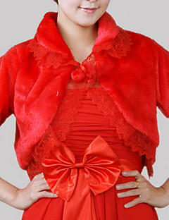 La fourrure manches 3/4-length faux avec la veste de mariée en dentelle de mariée / wrap