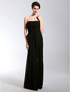 Formal Evening / Military Ball Dress - Black Plus Sizes / Petite Sheath/Column Strapless Floor-length Chiffon