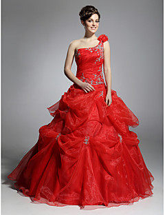 Prom / Formal Evening / Quinceanera / Sweet 16 Dress - Open Back Plus Size / Petite Ball Gown One Shoulder Floor-length Organza with